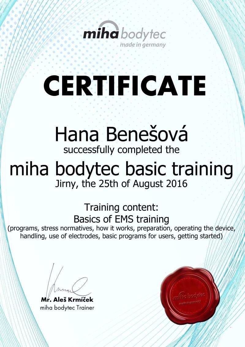 EMS trénink - certifikát Miha Bodytec